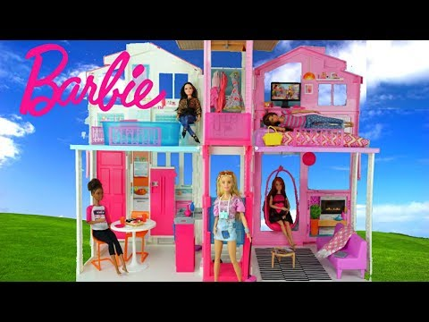 Barbie Doll House With Pink Bedroom, Doll Bathroom And Toy Kitchen   Kids  Toys   YouTube