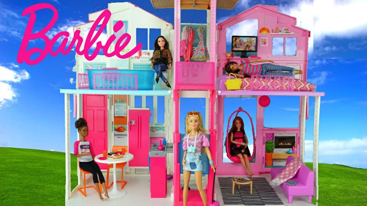 barbie doll house with pink bedroom doll bathroom and toy kitchen rh youtube com