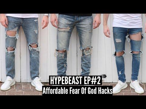 Best Fear Of God Affordable Alternatives - Distressed Denim DIY Tutorial   HYPEBEAST #2