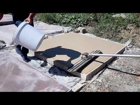 Печатный бетон. Нанесение цветного Закрепителя