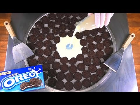 Massive OREO Ice Cream Rolls | how to make rolled fried Ice Cream with lots of Oreo Cookies | ASMR