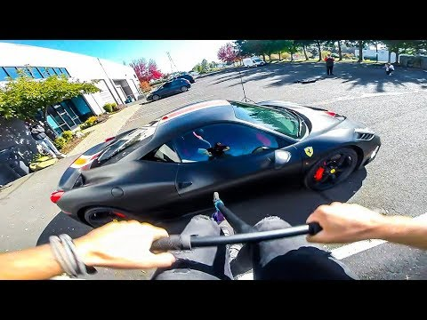 JUMPING OVER $400,000 FERRARI ON SCOOTER!