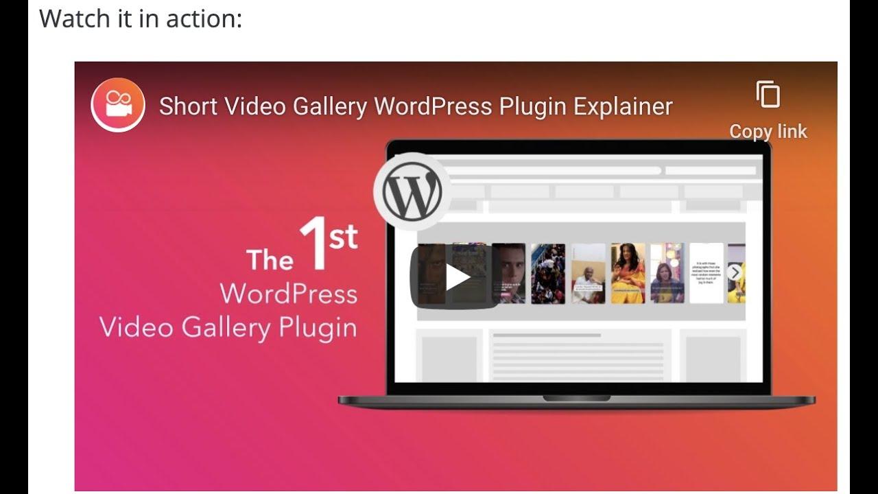 Short Video Gallery WordPress Plugin Explainer