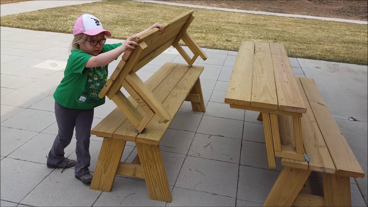 Wooden Bench Table Benches Transform Into Picnic Tables