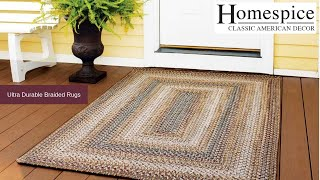 Ultra durable braided rug used outside store in real life.