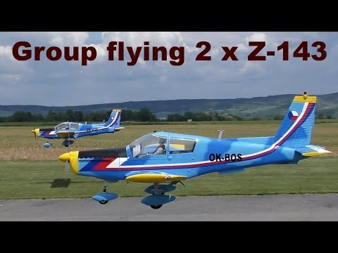 Group Flying 2x Giant Zlin Z 143, Scale RC Airplanes, 2019