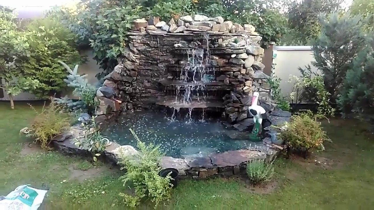 Поэтапное строительство водопада из природного камня своими руками