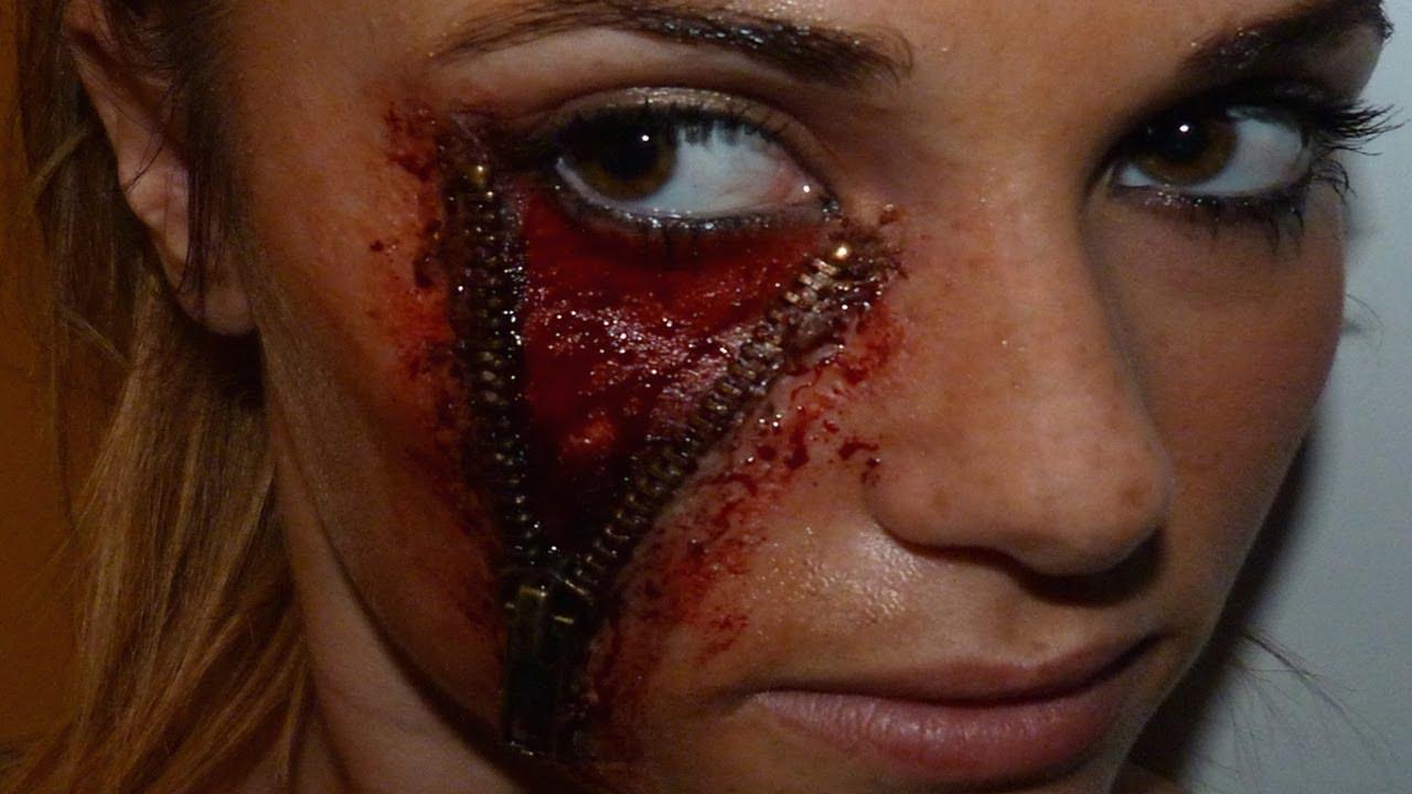 maquillage halloween fermeture eclair