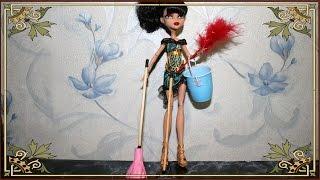 Как сделать ведро , швабру , метелку  и метелку для пыли для кукол  Monster High и Куклы Барби и т д(Сегодня мы сделаем ведро,швабру,метелку для пыли.Нам потребуется:Пух,шпажки для мяса,баночка от йогурта,кле..., 2014-07-28T15:53:36.000Z)