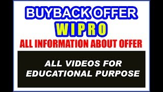 WIPRO BUYBACK OFFER : SOME IMPORTANT INFORMATION