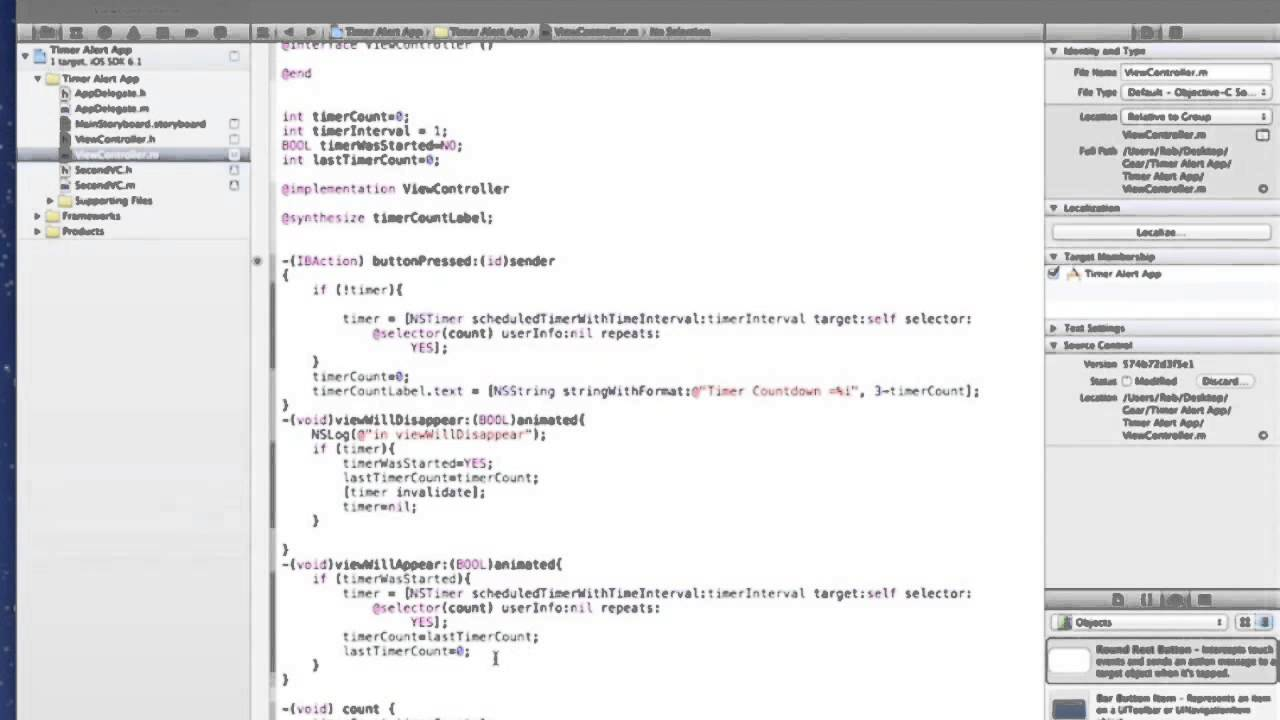 xCode Tutorial - Pausing and restarting timers when tabbing between screens