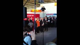 Rede von Angela Merkel zur CeBIT 2014 vor Presse und Fernsehen in Hannover am ersten Messetag