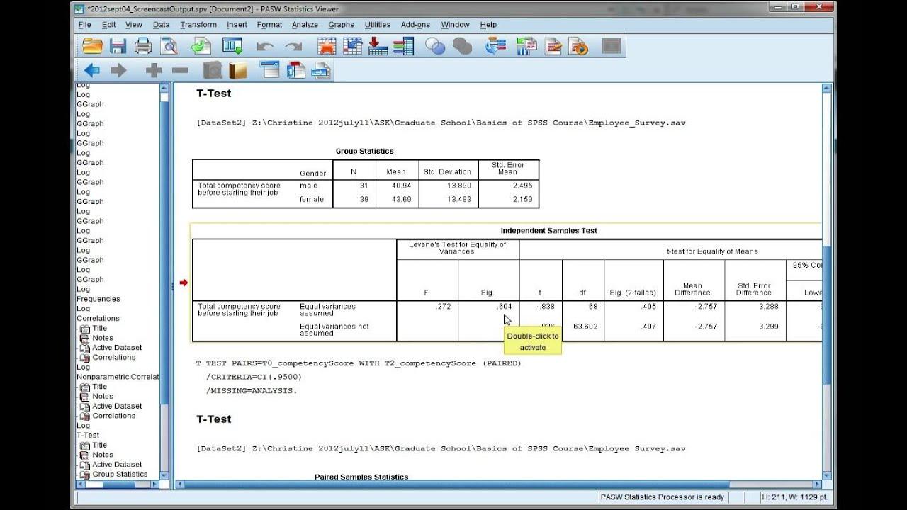 Interpret Spss Output For An Independent T Test