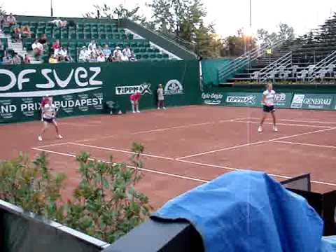 Agnes Szavay and Blanka Szavay- their first ever pro match together- 2009 WTA Budapest