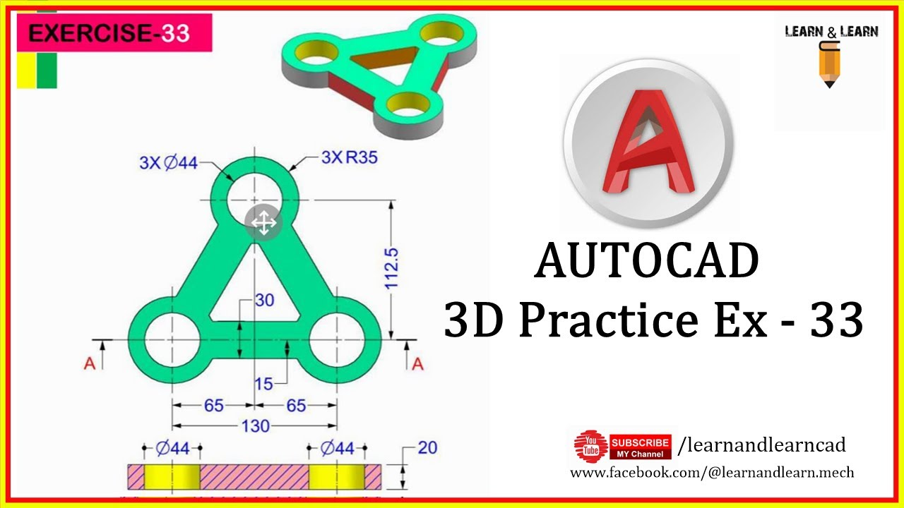 Practice Ex  33 of AutoCAD 3D by Learn & Learn CAD