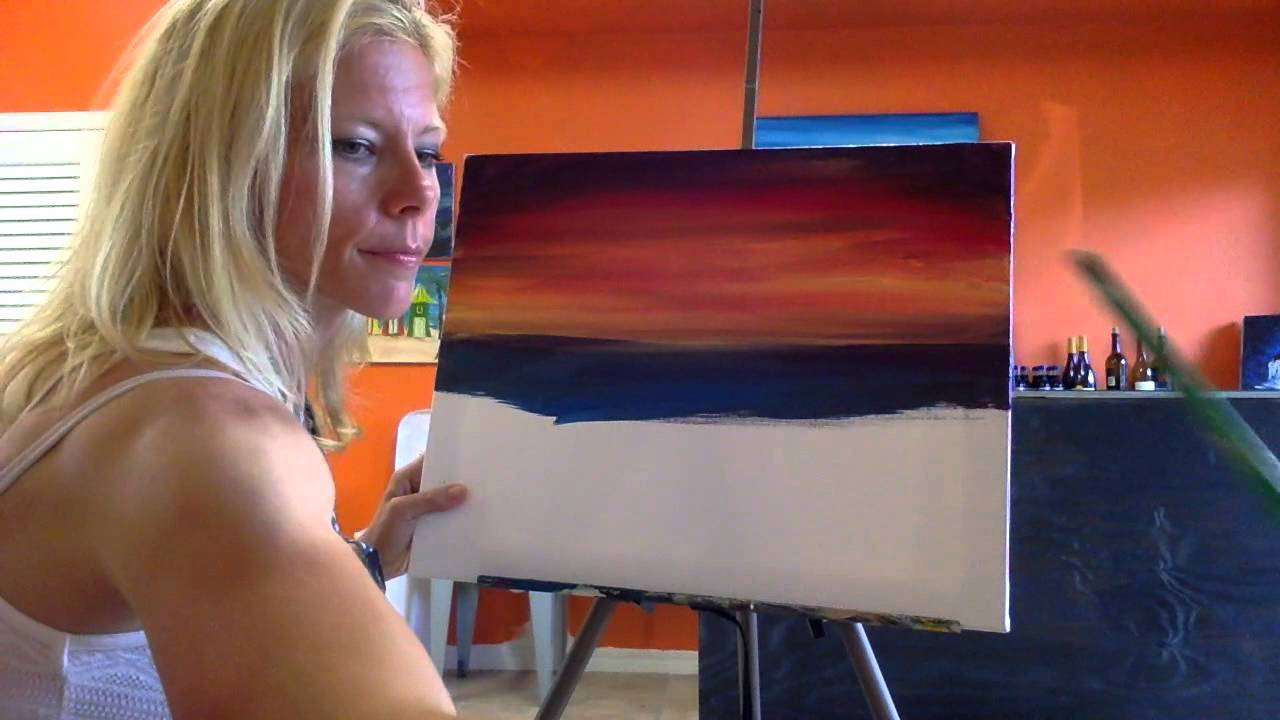 DIY Acrylic Painting Of A Beach Sunset With Dolphins