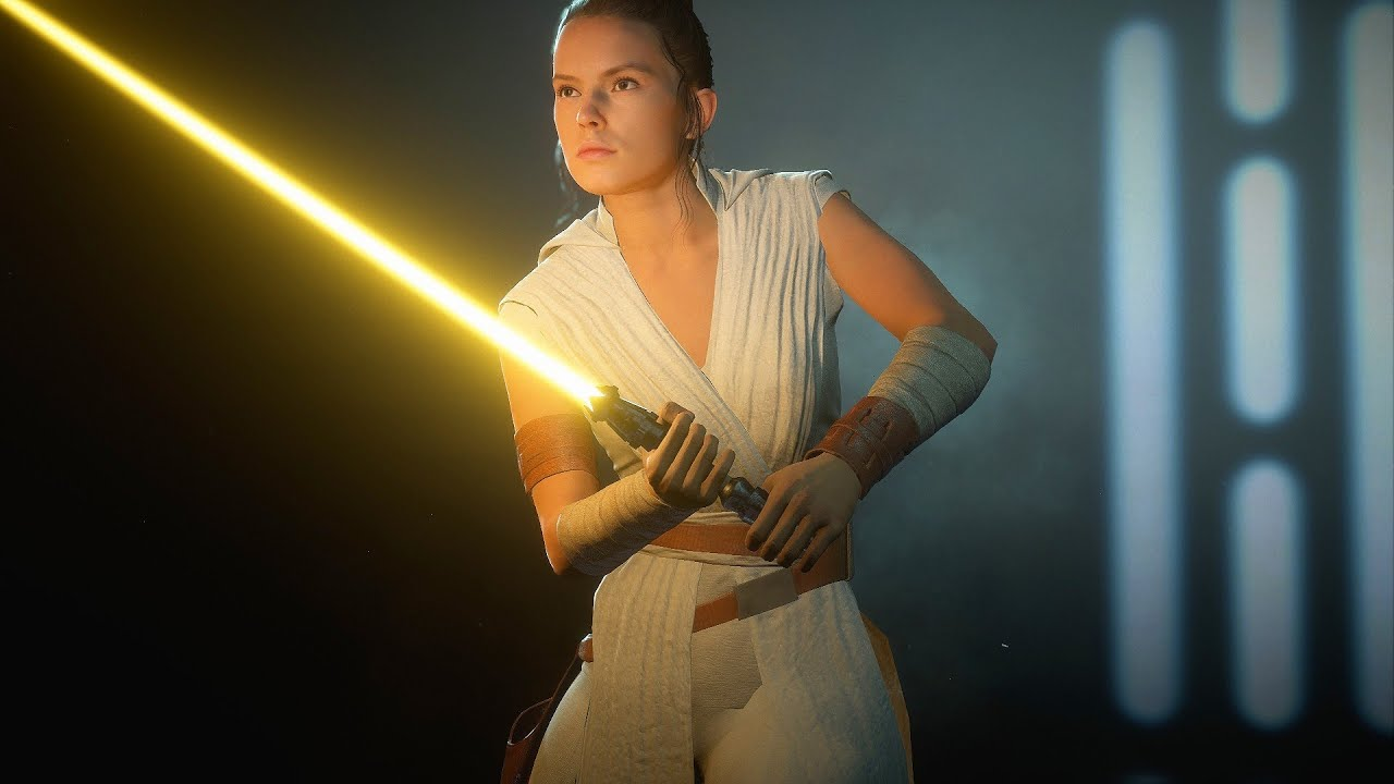 Rey S Jedi Master Yellow Lightsaber Mod Star Wars Battlefront 2 2k 60fps Youtube