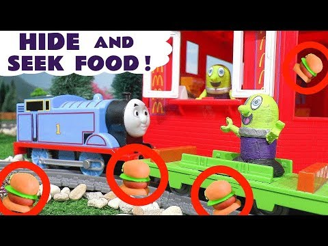 Hide and Seek Game with Pretend Play Food at McDonalds with Thomas Train and Funny Funlings TT4U