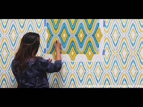 How To Stencil A Modern Wallpaper Mural Look With Wall Stencils For DIY Painting