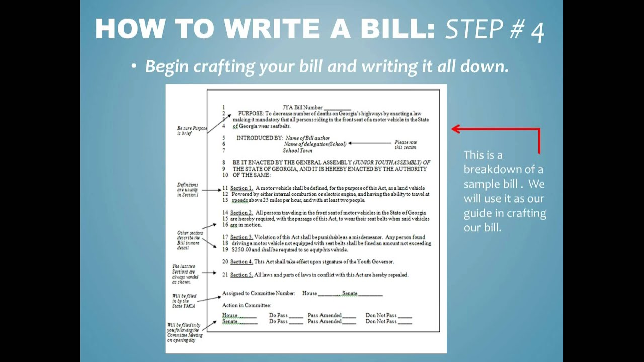 How to write a Bill for JYA  YouTube