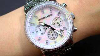 womens stainless steel case and bracelet quartz chronograph mother of pearl dial