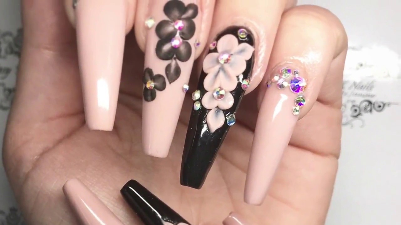 FantasyFX | Long coffin nails with 3D flowers | hot to keep gems on ...