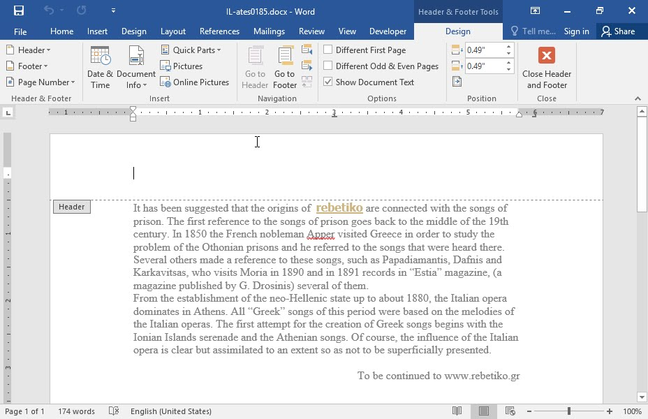 Display The Page Number At The Center Of The Footer Of The