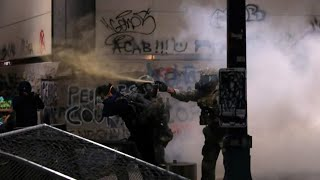 Tear gas fired at demonstrators during a protest in Portland