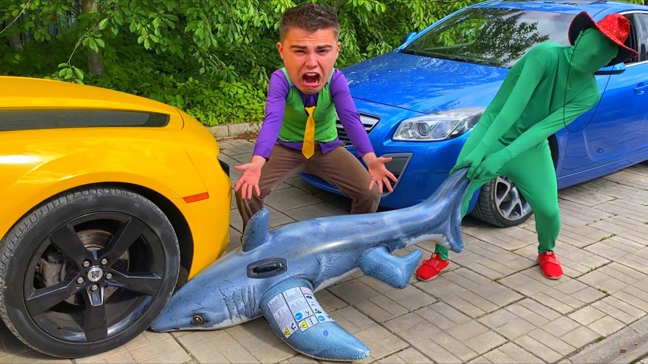 Green Man put Shark under Wheel Car VS Mr. Joe on Chevrolet Camaro VS SHARK 13+