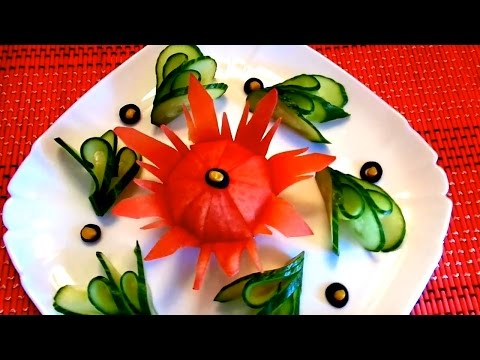 HOW TO MAKE TOMATO FLOWER CARVING - CUCUMBER LEAF GARNISH & HOW TO CUT VEGETABLE DESIGN ART