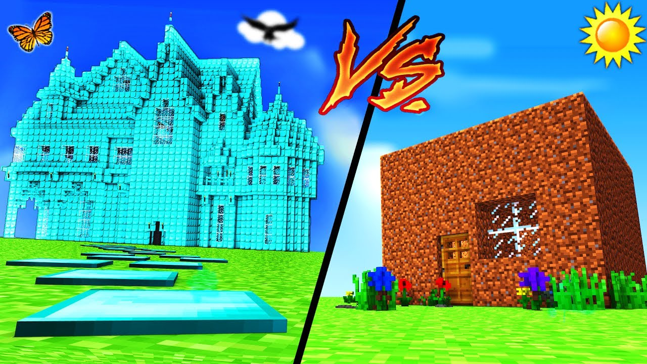minecraft - diamond house vs dirt house - youtube