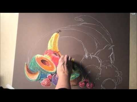 Flying Shoes Drawing Fruit with Soft Pastels