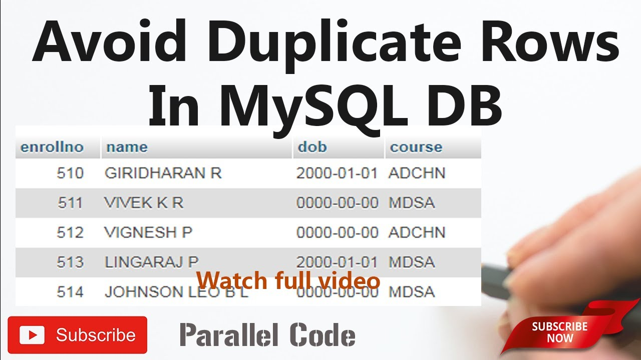 How to avoid duplicate row entry in mysql database(db) In tamil