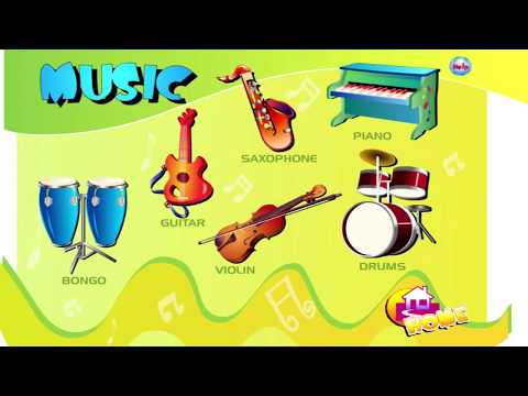 Musical instruments for kids | English | Learn names and sounds musical instruments ANIMATION