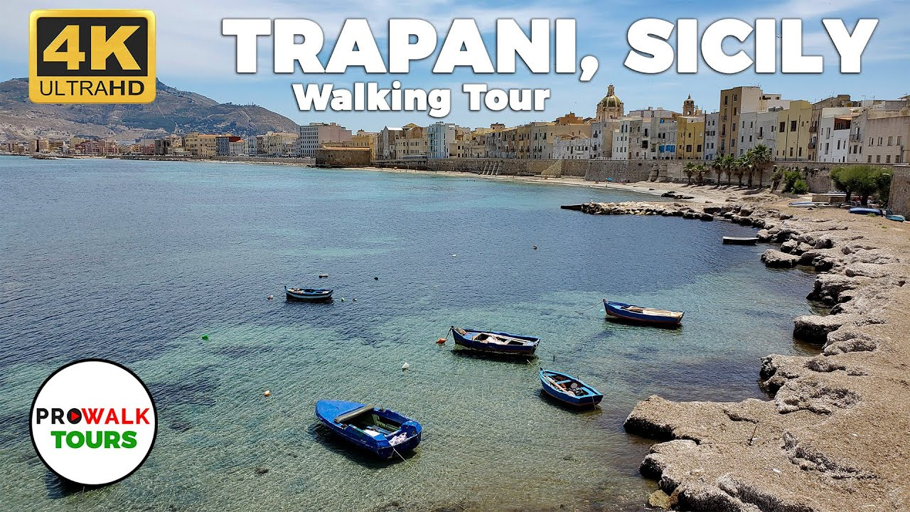 Trapani, Sicily Walking Tour 4K - with CAPTIONS