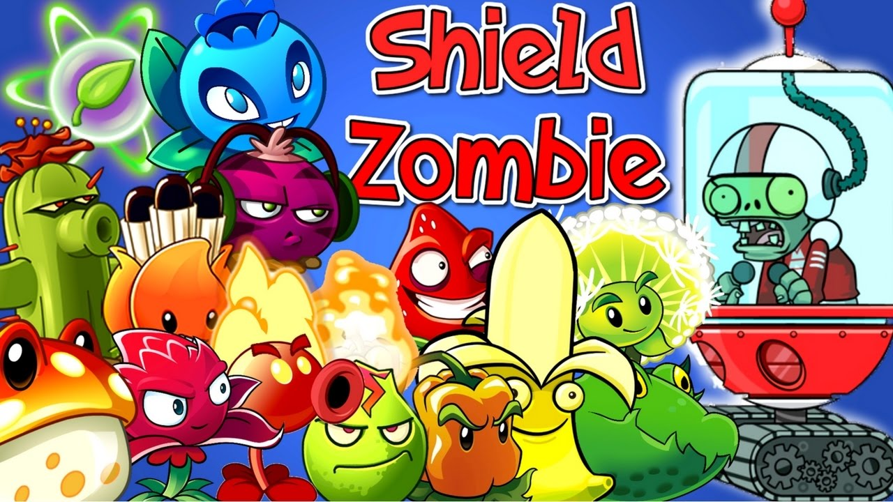 Plants vs Zombies 2 All Plants Power Up vs SHIELD ZOMBIE in
