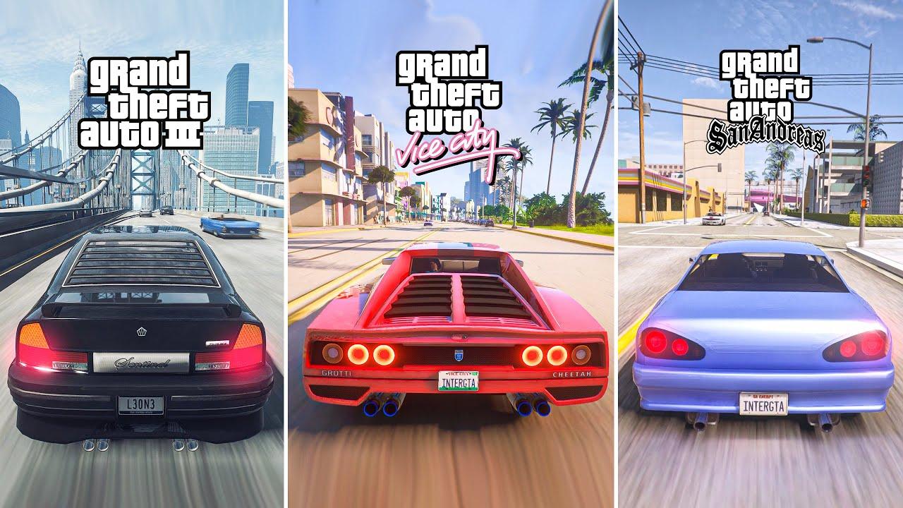 GTA Trilogy The Definitive Edition  GTA III Vice City San Andreas Gameplay DEMO GTA 5 PC Mods