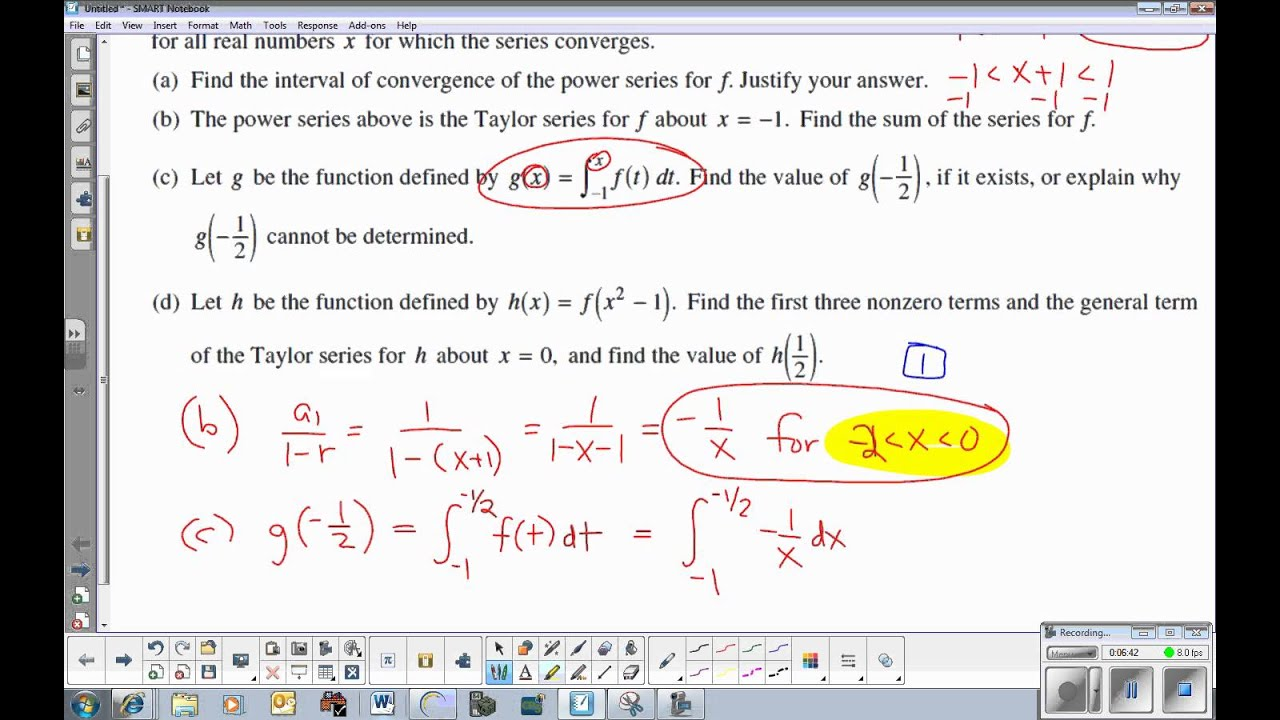 Ap Calculus Bc Taylor Series Example From Ap Exam Youtube