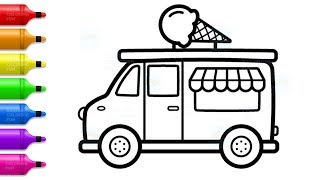 How to Draw Ice Cream Truck for Kids - Learn Colors with Truck Coloring Pages
