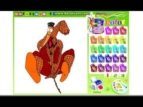 Spiderman Coloring Pages  Marvel Kinder Fun Раскраска Спайдермен Человек Паук  видео для детей