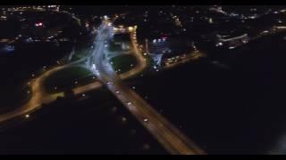 Kraków nocą z drona - 4K.