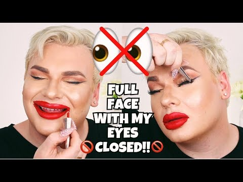 FULL FACE MAKEUP WITH MY EYES CLOSED CHALLENGE!