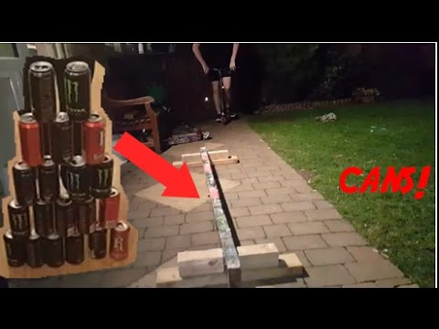 DIY HOW TO MAKE A SKATE/SCOOTER/BMX GRIND RAIL WITH CANS! EXPERIMENT
