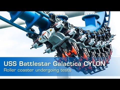 USS Battlestar Galactica CYLON roller coaster 2015 REOPENED