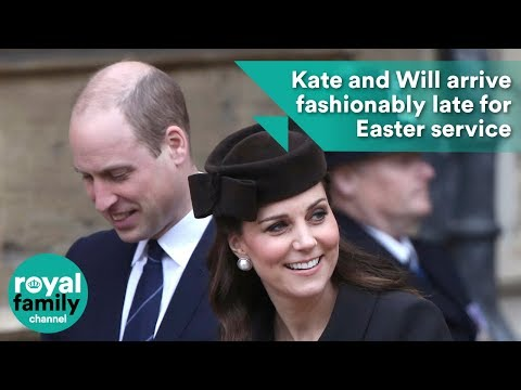 Kate and William arrive fashionably late for Easter service at Windsor