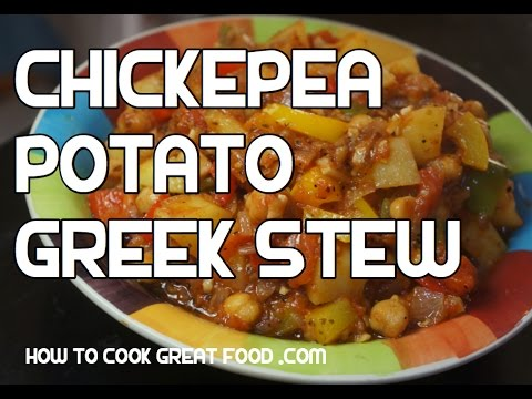 Chickpea & Potato Recipe - Mediterranean Stew Hotpot Casserole Vegan Healthy