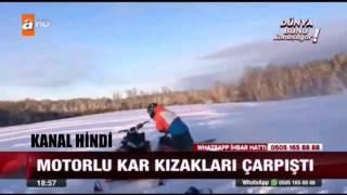 Motorlu Kar Kızakları Çarpıştı İlginç Kaza Anı
