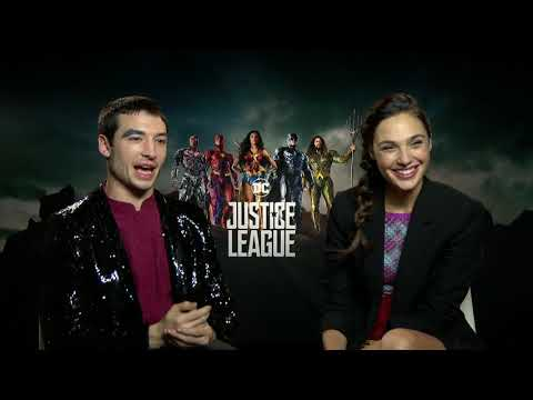 Gal Gadot as Wonder Woman and Ezra Miller Justice League Interview