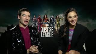 Gal Gadot as Wonder Woman and Ezra Miller Justice League Interview