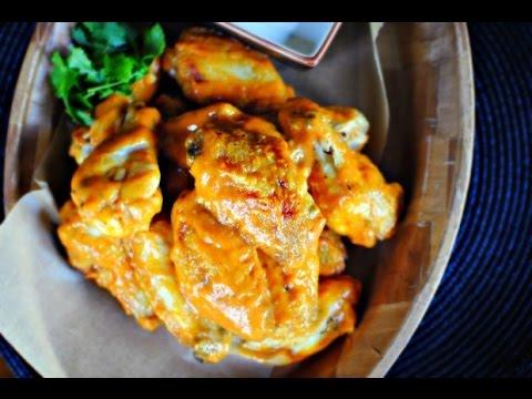 Spicy Garlic Chicken Wings + Blue Cheese Dip